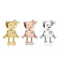 ouro robô venda por atacado-Bella Robot Charme Beads Serve Pulseiras Pandorx Rose Gold Silver Alloy Solta Beads para As Mulheres Jóias Acessórios DIY Fazendo Presente de Natal