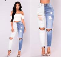 dünne jeans großhandel-Frauen reizvolle Denim Jeans-dünnes Loch White Blue Denim Colorblock dünne Jeans für Frauen asiatische Größe S-2XL