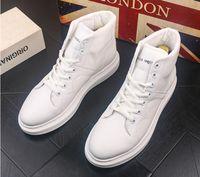 estilos de invierno de arranque al por mayor-2019 Nuevo estilo Hombres Causal Zapatos Otoño Invierno Frente Cordones Botines de cuero Zapatos Hombre Casual High Top Canvas Men BMM412