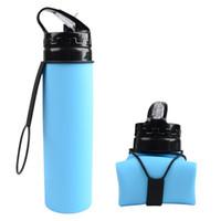 botella de viaje doble al por mayor-Botella de agua plegable de silicona Deportes Botellas de agua de viaje al aire libre plegable de paja 5 colores Botella de bebida IIA241