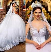 Wholesale tulle ball gowns wedding dresses resale online - 2019 Gorgeous Arabic Crew Neck Tulle Ball Gown Wedding Dresses Lace Applique Beaded Court Train Bridal Gowns Wedding Dresses
