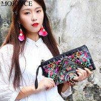 bolsa de estilo étnico chinês venda por atacado-Moda Exquisite Bordados Mulheres Clutch Bag chineses étnicos Estilo Tassel Bolsa retro Zipper pulso Coin Purse