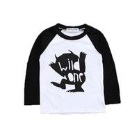 camisa longa dos desenhos animados da luva dos meninos venda por atacado-Bebés Meninas Carta Tops 29 Design T-shirt da criança dos meninos dos desenhos animados Crianças roupas de grife Meninas Raglan manga comprida camisas dos miúdos trajes casuais 06