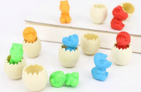 Wholesale New Dinosaur egg rubber eraser animal removable eraser stationery school supplies papelaria gift toy for kids penil eraser
