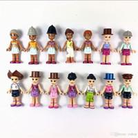 oyuncaklar minifigure toptan satış-Promosyon Hediye Rastgele 10x Mini Arkadaşlar Moda Kızlar Minifigure bölüm Yapı Action Figure Minifig Çocuk oyuncak Bebek Hediye DIY Eğitici Oyuncaklar