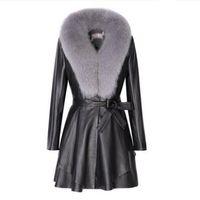 элегантная женская кожаная куртка оптовых-leather  fur women coat long faux leather slim jackets big-fur collar fashion lady elegant outwear coat tops