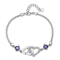 Wholesale wedding bracelets online - New sweet heart love silver bracelet Korean version of natural crystal charm bracelet suitable for valentine s day gifts