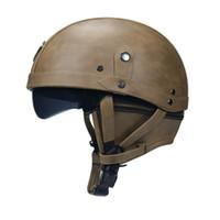 Wholesale motorcycle half helmets visor resale online - Motorcycle Motorbike Rider Half Open Face PU Leather Helmet Visor With Collar Leather vintage Motorcycle Motorbike