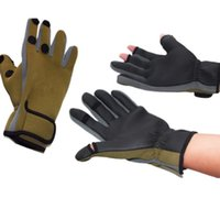Wholesale cold gear resale online - Waterproof Outdoor Sports Non slip Fishing Gear Gloves Riding Cold Gloves Can be Exposed Three Fingers Wear Fishing Glove