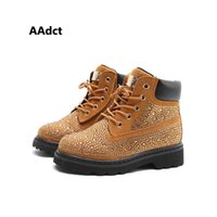 Wholesale gray buckle boots resale online - AAdct autumn new fashion Rhinestone girls boots Brand High quality kids boots All match princess children boots for girls T191015