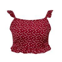 красная сексуальная женщина без рукавов рубашка оптовых-2019 Sexy Red Camis Укороченный топ femme Женская футболка Летняя мода принт футболка с коротким рукавом рубашки без рукавов топ feminino # 5