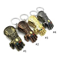 Wholesale gloves b resale online - 4 Color Avengers Endgame Infinity Gauntlet Keychain New Avengers Thanos weapon glove alloy Key Chain toys B