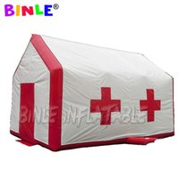 abrigo inflável venda por atacado-Portable 8x5x5m square Airtight insuflable emergency tent medical First Aid Tent with 2 doors fire fighting temporary shelter