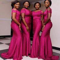 abendkleider nigeria großhandel-2019 Fuchsia Plus Size Brautjungfernkleider Lange Schulterfrei Perlen Meerjungfrau Kleider Abendmode Nigeria Afrikanische Hochzeitsgast Kleid