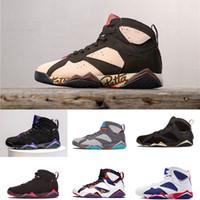 n7 basketbol ayakkabıları toptan satış-7 Basketbol Ayakkabıları Erkekler 7 s VII Patta Ray Allen Mor UNC Olimpiyat Panton Saf Para Hiçbir Şey Raptor N7 Zapatos Eğitmen Spor Ayakkabı Sneaker