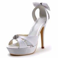 marfim vestido branco sapatos venda por atacado-Mulheres verão sandálias de casamento branco de noiva peep toe marfim super bombas de plataforma de salto alto cetim senhoras noiva prom dress shoes
