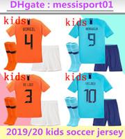 genç futbol setleri toptan satış-2019/20 Çocuk hollanda Futbol Formaları çocuklar kiti üniforma seti camisa de futebol hollanda VIRGIL DE JONG MEMPHIS Futbol gençlik maillots kitleri