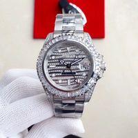 diamante relógio gmt venda por atacado-2019 Melhor designer de qualidade relógios Big Diamante completo assistir de fora congelado Assista ETA 4813 GMT Automatic Relógio de ouro de prata homens Waterproof 316L Aço