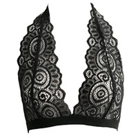 v шеи кружева bralette оптовых-Womens Sexy Halter Plunging V-Neck Bralette Hollow Out Sheer Floral Lace Bustier Backless Seamless Solid Color Lingerie Crop Top