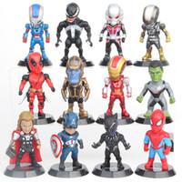 Wholesale marvel superheroes action figures resale online - 12 cm The Avengers Set Superhero Batman Thor Hulk Captain America Action Resin Model Figures Doll Marvel Toys