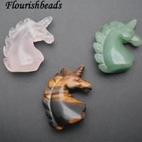 Wholesale unicorn locket for sale - Group buy Natural Stones Unicorn Horse Stone Decor Green Aventurine Tiger Eye Rose Quartz