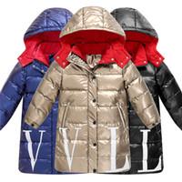 девушки в парке длинные оптовых-2019 Дети зима теплая белая утка вниз куртки девочек одежда водонепроницаемая одежда с капюшоном длинные -30 градусов Пальто для детей куртки