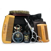 Elaimei 6pcs set Fashion Men Beard Kit Styling Tool Beard Balm Oil Comb Moisturizing Wax Styling Scissors Care 6pcs sets B
