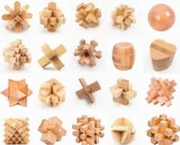 rompecabezas de madera de bloqueo al por mayor-Rompecabezas 3D de madera Cubo clásico Genio Rompecabezas y enigmas Kongming Luban Jigsaw Luban Lock Regalo educativo chino del juguete para los niños