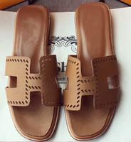 ingrosso pantofole marroni per le donne-Con box Sacco per la polvere Ciabatta piatta in pelle sandalo Flip Flops Sandali firmati Sandalo in pelle marrone 35-41