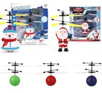 Wholesale new rc big helicopter resale online - Christmas Obstacles Avoid Intelligent Flying Sensitive Cute RC Drone santa Claus Snowman Crystal Ball Aircraft Dazzling Helicopter LA223
