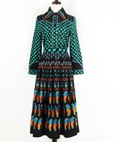 vogelröcke großhandel-Street Style Fashion Damen Zweiteiler Lucky Leaves Printed Bluse + A-Line Bird Printed Long Rock