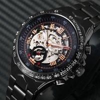 relógio de discagem preta china venda por atacado-2018 Black Rose Gold Vencedor Men Watch Legal Mecânica Automático Relógio de Pulso Banda de Aço Inoxidável Masculino Relógio Esqueleto Roman Dial J190705