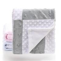 одеяла для одеяла оптовых-2 слоя 3D Dot Star Heart Pattern сращивания флис коралловый Минки Мягкий термальный малыш Детское детское одеяло Постельное белье Одеяло пеленание