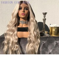 Wholesale african american fashion wigs for sale - Group buy Long Honey Blonde lace front Wigs with Baby hair Heat Resistant Synthetic Wavy Wigs for Women African American fashion ombre hairs