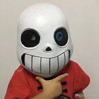 Wholesale decorate games resale online - Game Mask Undertale Sans Headgear Cosplay Facepiece Black White Latex San Blue Eyed Head Decorate Supplies Hot Sales zpC1
