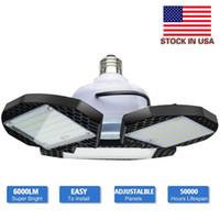 Stock In USA - 60W 80W LED Garage Light Standard E27 6000K Deformable Garage Lighting Led Shop Lights for Warehouse Workshop Basement Barn