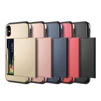 iphone чехол для слайдов оптовых-Бизнес-чехлы для телефонов для iPhone X XS Max XR Case Slide Armor Wallet Card Slots держатель для iPhone 7 8 Plus 6 6s 5 5S SE
