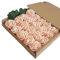 partie de douche rose achat en gros de-Fleurs artificielles 25pcs Real Looking Pink Roses Héritage w / tige pour les bouquets de mariage bricolage centres de douche nuptiale parti décorations pour la maison