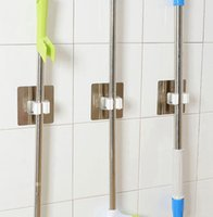küchengeräte veranstalter groihandel-Wall Mounted Mop Organizer Holder Brush Broom Hanger Storage Rack Kitchen Tool Hook Racks Kitchen Bathroom Organizer KKA7893