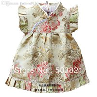 costumes bleu pâle achat en gros de-Vente en gros-2015Nouvelle arrivée bébé fille en soie Cheongsam bébé grande pivoine Tang costume robe rouge fille + pantalon ensemble livraison gratuite