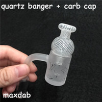 Wholesale quartz nails resale online - New pure Quartz Banger Nail with Newest Pattern and Carb Cap for quartz banger Male mmJoint Degrees For Glass Bongs water pipe