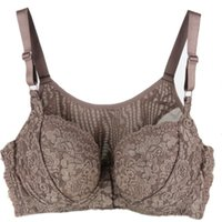 Wholesale high quality fasteners resale online - High Quality plus size DEF Thin large cups vest front fastener no trace lace Sexy bras women s underwear