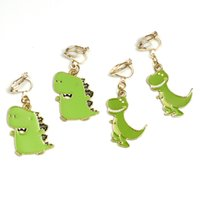 Wholesale ear holes earring for sale - Group buy Cartoon Dinosaur Earrings No Hole Ear Clips Cute Dinosaur Clip Earrings Non Pierced Ear Cuff Minimalism CE400