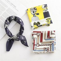 Wholesale printing handkerchief for sale - Group buy 50 CM Small Square Silk Scarf for Women Business Neck Head Scarfs Ladies Foulard Hair Band Tie Female Print Handkerchief