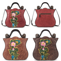 Wholesale lady bird bag resale online - Women Cow Leather Vintage Chinoiserie Handbags Sling Satchel Shoulder Bags Ladies Casual Floral Bird Tote Cross Body Bag Zipper Travel Pack