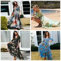 Wholesale women clothing online - Women Blast Bohemian Dresses floral Print V neck Button Designer Seven point Sleeve Skirt Dress Long Party Beach Clothing AAA1973