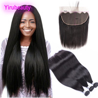 Wholesale 18 inch human hair wefts resale online - Malaysian Human Hair Extensions inch Bundles With X6 Lace Frontal Baby Hair Extensions Siky Straight Virgin Hair Wefts With