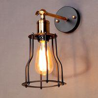 edison cage achat en gros de-Applique industrielle Edison antique 1 lampe pour abat-jour cage à café