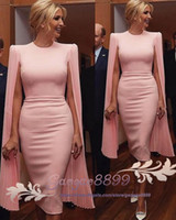 Wholesale tea length chiffon halter resale online - 2019 modest pink sheath evening Dresses jewel neck prom Party Cocktail formal Gowns with soft chiffon long sleeves custom made robes de bal