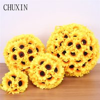 Wholesale flower balls wedding decorations for sale - Group buy Simulation sunflower flower ball Home door wall decoration fake flower wedding scene layout Christmas party ceiling decoration